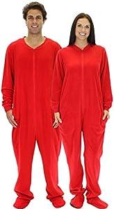 SleepytimePjs Adult Red Fleece Onesie Pjs Footed Pajama