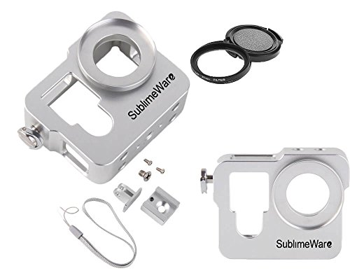 Aluminum Case Frame for GoPro Hero 3 3+ Hero 4 with 37mm UV Filter Skeleton Housing with Microphone Mic Mount for Go Pro Hero3 Hero4 Silver Hero3+ (Silver) - Best Protection for GoPro By SublimeWare