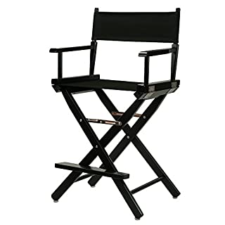 """Casual Home 24"""" Director's Chair Black Frame-with Black Canvas, Counter Height"""
