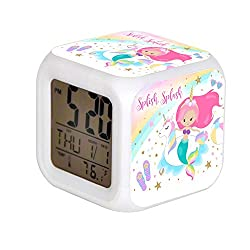 JHSIT 7 Color Change LED Digital Alarm Clock with Date Alarm Thermometer Desktop Table Cube Alarm Clock Child Home Mermaid & Unicorn