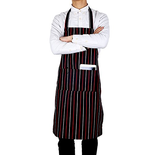 (Flying Frog Bib Apron with Pockets for Women and Men - Easy to Wear - Red/Black Pinstripe Apron )