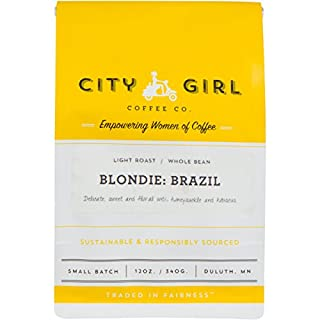 City Girl Coffee 'Blondie Brazil' Single Origin WHOLE BEAN Light Roast, 12 oz Resealable Bag, Sourced from Women-Owned Farms