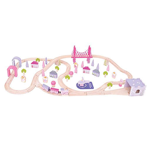 Bigjigs Rail Wooden Fairy Town Train Set - 75 Play Pieces