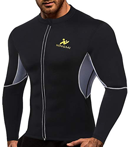 NINGMI Men Long Sleeve Sweat Sauna Shirt Neoprene WeightLoss Workout Body Shaper Fitness Jacket with Zipper Waist Trainer Black