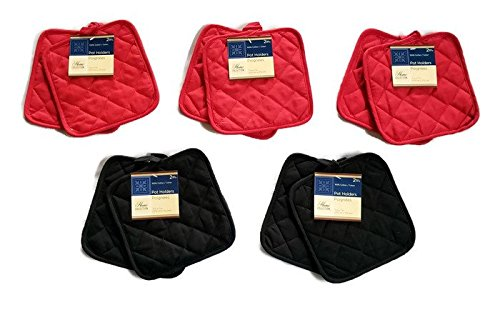 Pack of Ten (10) Red & Black Home Store Cotton Pot Holders (3 Sets of Red & 2 Sets of Black)