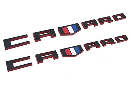 (Yuauto OEM CAMARO Letter Emblem Badges 3D Badge Replacement for Camaro RS SS ZL1 Z28 Chevy (2Pc black red))