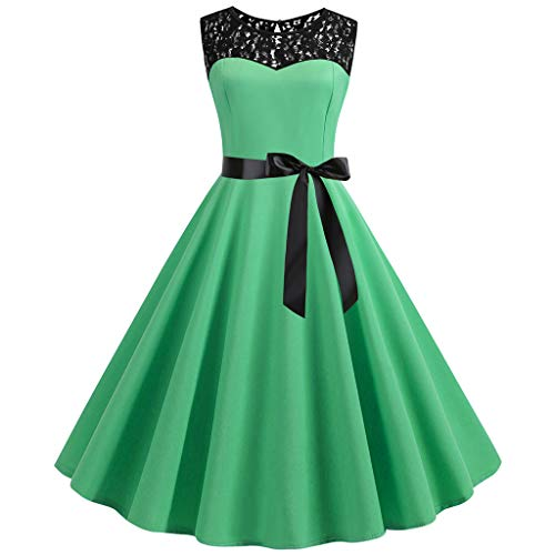 FORUU Vintage Dresses for Womens, Ladies 1950s Retro O Neck Sleeveless Bowknot Lace Splice Solid Party Prom Swing Bridesmaid Wedding 1920s 1950 Newest Arrivals Trendy Stylish Elegant Cute