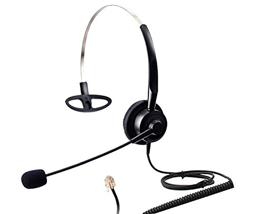 Audicom Corded Call Center Phone Headset with Comfort Headband Fit for NEC Aspire Nortel M2616 M3904 Plantronics S11 S12 A100 T10 T20 T100 Aastra Telecom Shoretel Avaya Hands-Free Telephone (H200STK)