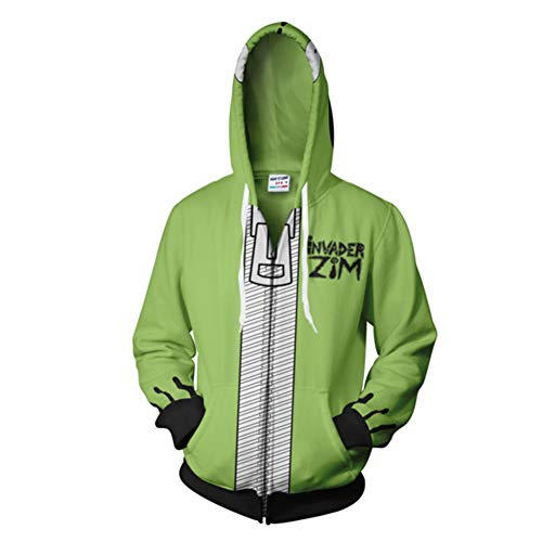 Unisex Invader Zim Hoodie Halloween Costume Cosplay Mens Casual Hooded Zip Up Pullovers -