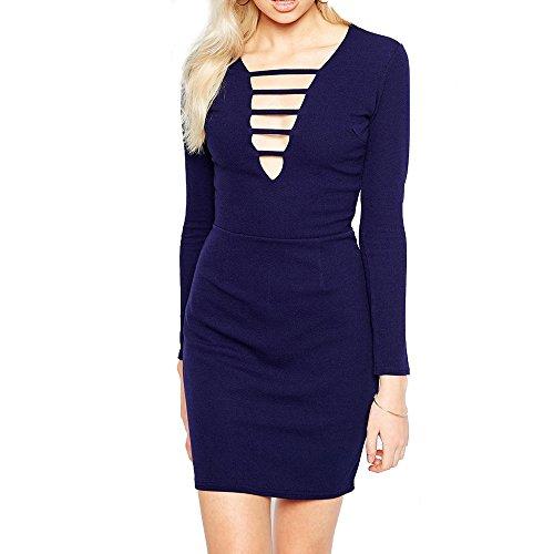Re Tech UK - Vestido - Manga Larga - para mujer azul marino