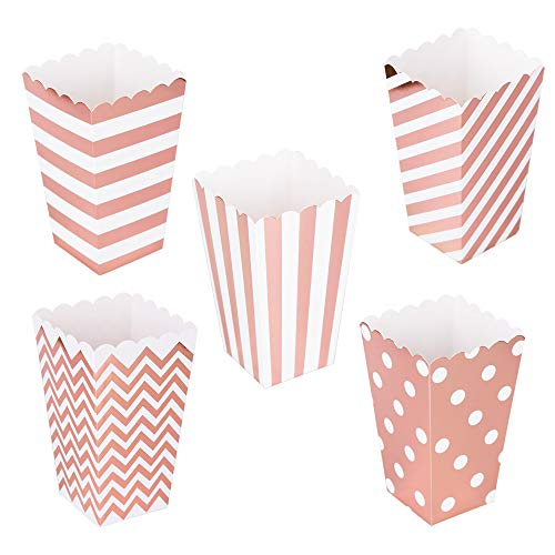 Popcorn Boxes 6.3 inch tall Cardboard Candy Boxes For Birthday Bridal and Baby Shower Carnival/Graduation/Party/Movie/Fiesta Dessert Tables Wedding Party Supplies 60pcs Rose Gold]()