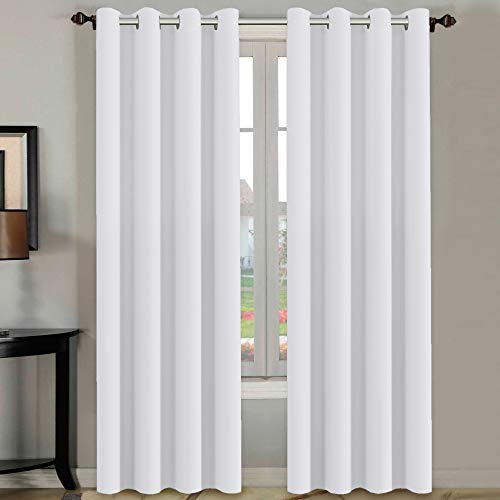 H.VERSAILTEX White Curtains 96 inches Long Window Treatment Panels Drapes for Living Room, Set of 2, Grommet Top
