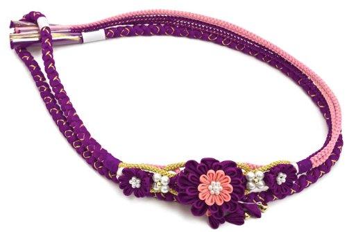 帯締め つまみ細工 パール 金糸 正絹 盛装