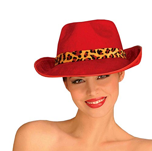 Forum Novelties Women's Adult Velvet Fedora Hat Costume Accessory, Red, One Size (Gangsta Lady Costume)