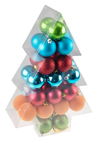 Green, Red, Blue, & Orange 34 Piece Shatterproof Christmas Tree Ornaments by Clever Creations | Festive Holiday Decor | 60mm Reflective, Fuzzy, Matte, Glitter Balls | Perfect for all Trees Clever Christmas Ornaments