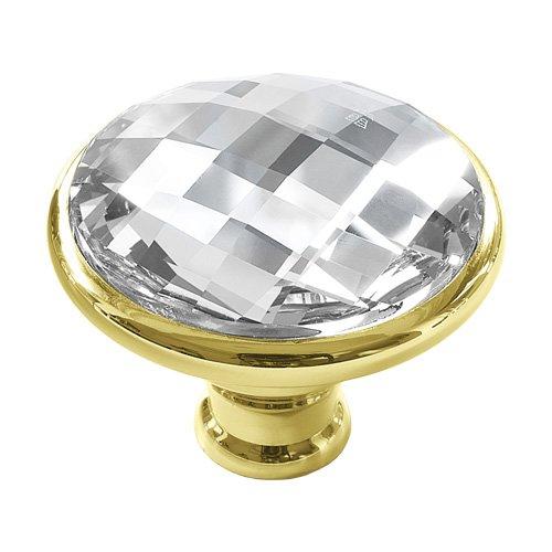 DecoUnique Pull Knob With Swarovski Crystal, 1.1 inch by 1.3 inch, Polished Brass, 711 M PB C ()