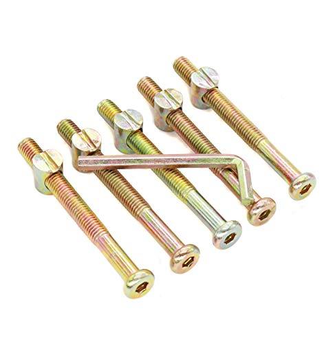 binifiMux 10pcs M8 90mm Hex Key Drive Socket Cap Bolt and Barrel Nuts for Furniture Chairs Crib Beds Cots (10pcs M8 Barrel Bolts)