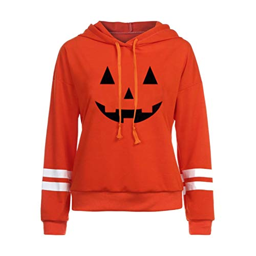 Women Halloween Shirt Funny Pumpkin Costume Long Sleeve Sweatshirt Hoodie Top(B,X-Large)