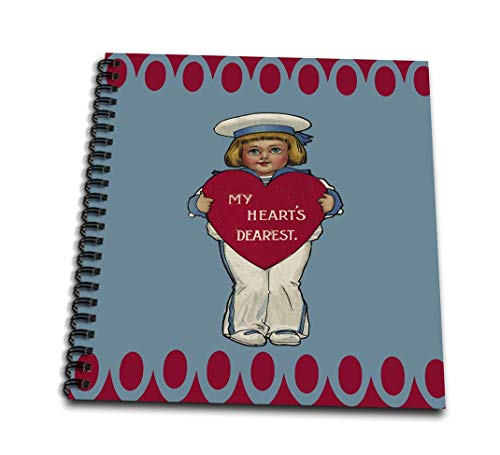 3dRose My Hearts Dearest Little Sailor Boy Holding A Red Heart Vintage Valentine-Memory Book, 12 by 12