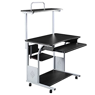 Tangkula Mobile Compact Computer Desk Cart PC Laptop Table Study Home Office Dom Portable Workstation