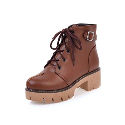 ZQ@QX Otoño e Invierno de cabeza redonda con negrita, con elegante y versátil correa Martin botas botas hembra Brown