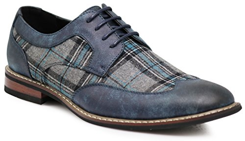 Titan03 Men's Spectator Tweed Plaid Two Tone Wingtips Oxfords Perforated Lace Up Dress Shoes (9 D(M) US, Navy Blue)