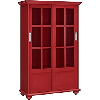 Bowery Hill Sliding Glass Door Bookcase In Red