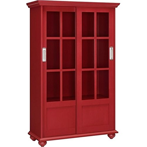 Bowery Hill Sliding Glass Door Bookcase in Red (Bookcase With Sliding Glass Doors)