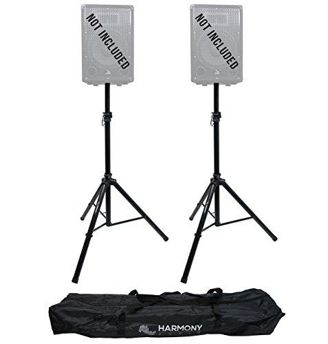Harmony Audio HA-DSBG Pro Audio DJ (2) Portable Tripod Speaker Stand Pair & Transport Bag by Harmony Audio