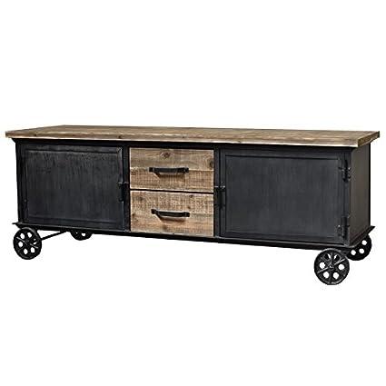 Aparador para televisión sobre ruedas, hierro, madera, estilo campestre e industrial, 155 cm: Amazon.es: Hogar