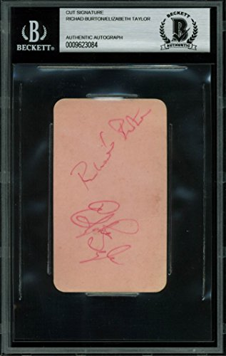 Elizabeth Taylor & Richard Burton Signed 2.25×4 Cut Signature BAS Slabbed