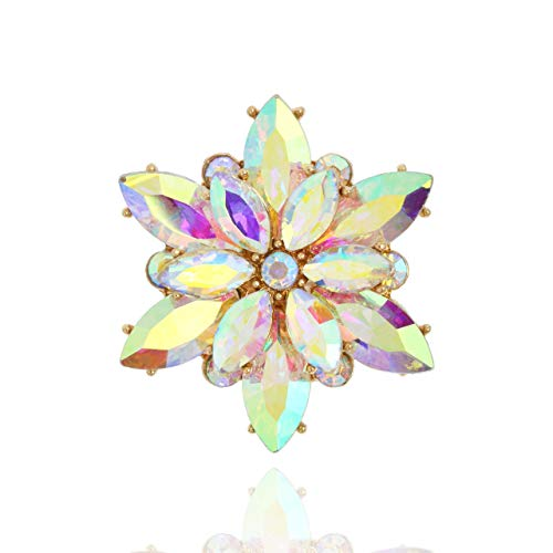 SP Sophia Collection Women's Sparkly Flower Burst Crystal Cluster Stretch Ring in Iridescent
