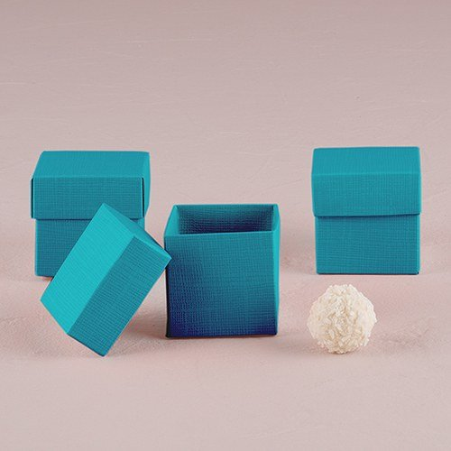 Oasis Blue Square Favor Box With Lid Set of 10