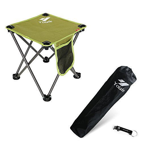 Folding Camping Stool, Portable Chair for Camping Fishing Hiking Gardening and Beach, Green Yellow Seat with Black Bag (1 ()