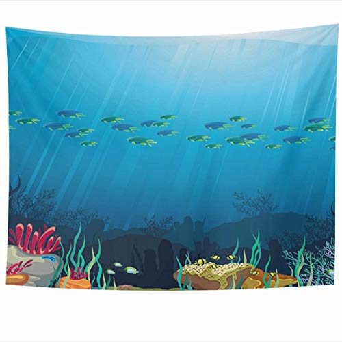 Tapestries 80 x 60 Inches Ocean Underwater Life Coral Reef Fish On Blue Sea Deep Anemone Design Tropical Home Decor Tapestry Wall Hanging for Living Room Bedroom Dorm (Zodiac Mens Deep Reef)