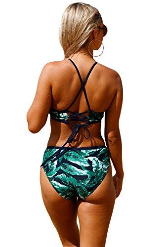 New navy foglia di palma stampa self-tie 2PCS collo alto Tankini set bikini Swimwear estivo costume da bagno misure UK 8EU 36