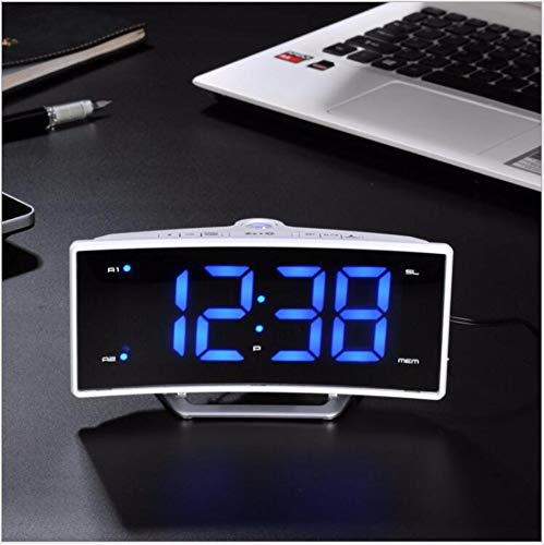 Radio Nid Fashion Led Projection Mirror Alarm Clock Hong Kong Luminous Double-Tone Electronic Clock External Power Supply Home Decoration Digital Electronic Clock,C0