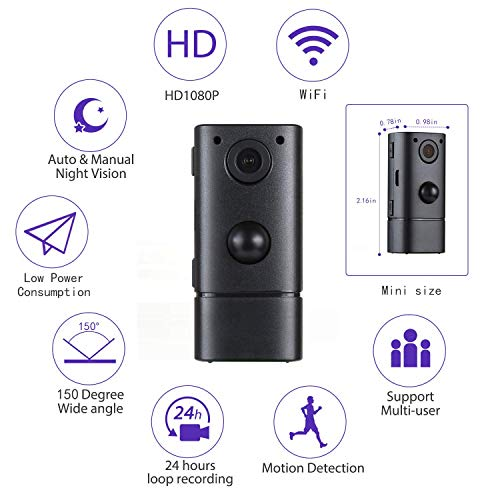 Mini Spy Camera WiFi Wireless Hidden Security Camera, HD 1080P Small Secret Nanny Cameras, Perfect 150 Angle Tiny Spy Cam for Home, Upgraded Night Vision and Motion Detection [Guaranteed Remote]
