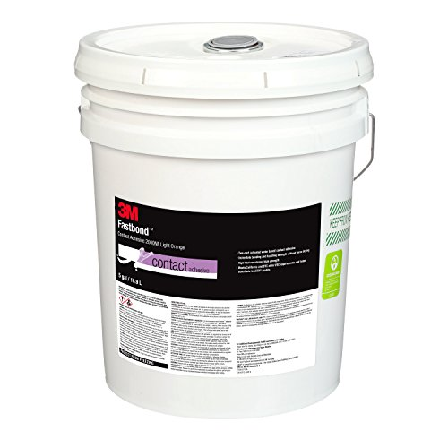 3M 87953-case Fastbond Contact Adhesive 2000NF Light Orange, poly pail Pour Spout, 1 per case, 5 (Fastbond Contact Adhesive)