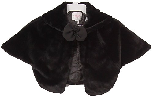 Fleece Bolero (Little Girls Super Soft Poncho Fur Coat Sailor Collar Flower Girls Knit Cotton Bolero (30C12C) Black S)