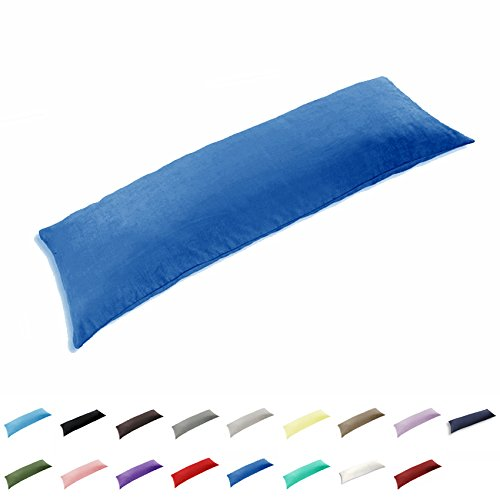 TAOSON 100% Cotton 300 Thread Count Body Pillow Cover Pillowcase Pillow Protector Cushion Cover with Zippers Only Cover No Insert (Royal Blue,21