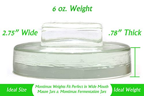 Glass Fermentation Weight With Handle, Fits All Wide Mouth Mason Jars, 4 Pack, For Sauerkraut, Pickles, Pickling Vegetables, By Montimax