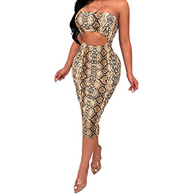 JustWin Fashion Womens Hollow Out Hip Strap Dress Sexy Leopard Print Off Shouder Backless Cocktail Evening Clubwear Jumpsuit