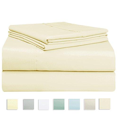 Pizuna Linens 400 Thread Count Sheet Set, 100% Long Staple Cotton Ecru Queen Sheets, Luxurious Soft Sateen Weave Bed sheets fit upto fit 17