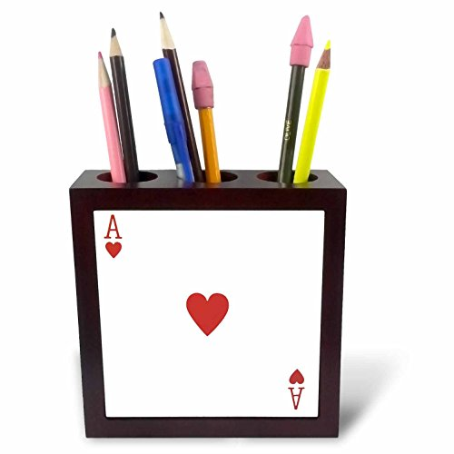 3dRose ph_76551_1 Ace of Hearts Playing Card-Red Heart Suit-Gifts for Cards Game Players of Poker Bridge Games-Tile Pen Holder, 5-Inch ()