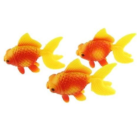 Pescados de la decoración Jardín de peces de acuario tanque de plástico de oro de natación, 3 piezas, Rojo Amarillo: Amazon.es: Productos para mascotas