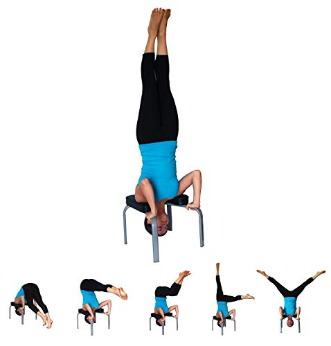 JIAL-SMEIL Yoga Headstand Bench - práctica de Yoga - Stand Yoga Chair para Familia, Gimnasio - Almohadillas de Madera y PU - Aliviar la Fatiga y ...