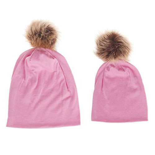 (Bolley Joss Soft Parent-Child Winter Knitted Hat Family Warm Knit Crochet Ski Beanie Hat with Pompoms,Pack of 2)