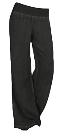 16b68a7dd92 Vska Women s Warm Leisure High Waist Cotton Wide Wide Cowboy Pants Black XXS