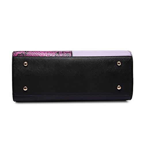 Shape Print Women Handbag Bag Shoulder 6613 V Snake Lulu Purple Miss Satchel Tote xqWOSnZc
